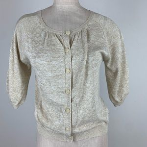 Diane von Furstenberg cardigan sweater shrug gold